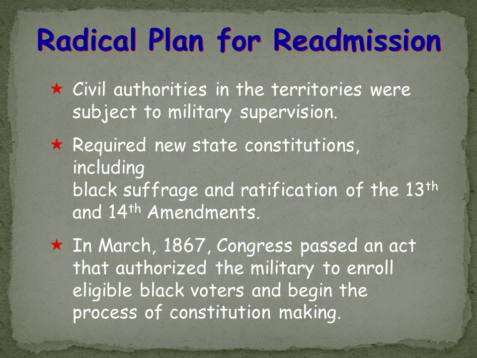 Radical Plan for Readmission
