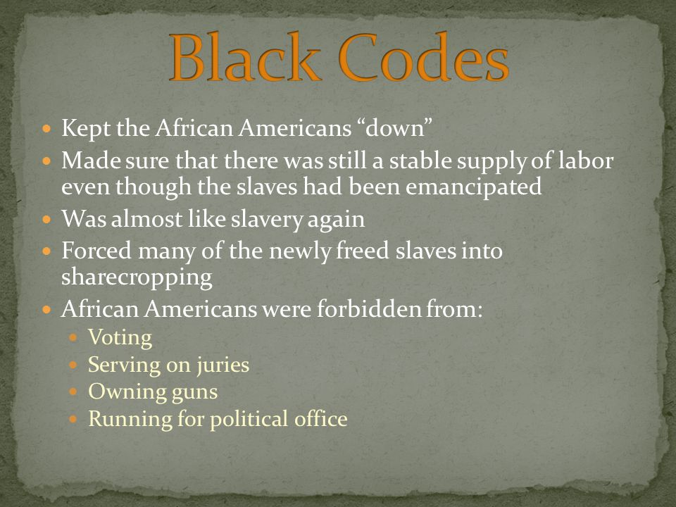 Black Codes Kept the African Americans down