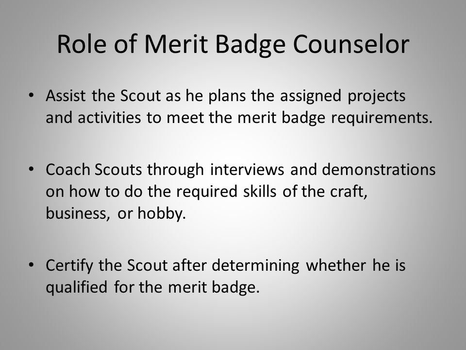 Role of Merit Badge Counselor