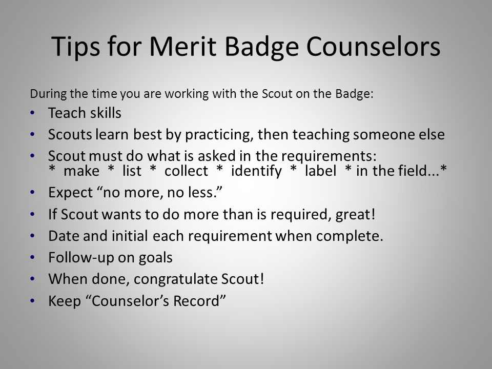 Tips for Merit Badge Counselors