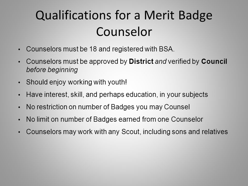 Qualifications for a Merit Badge Counselor