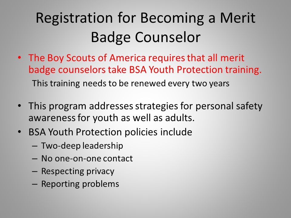 Registration for Becoming a Merit Badge Counselor