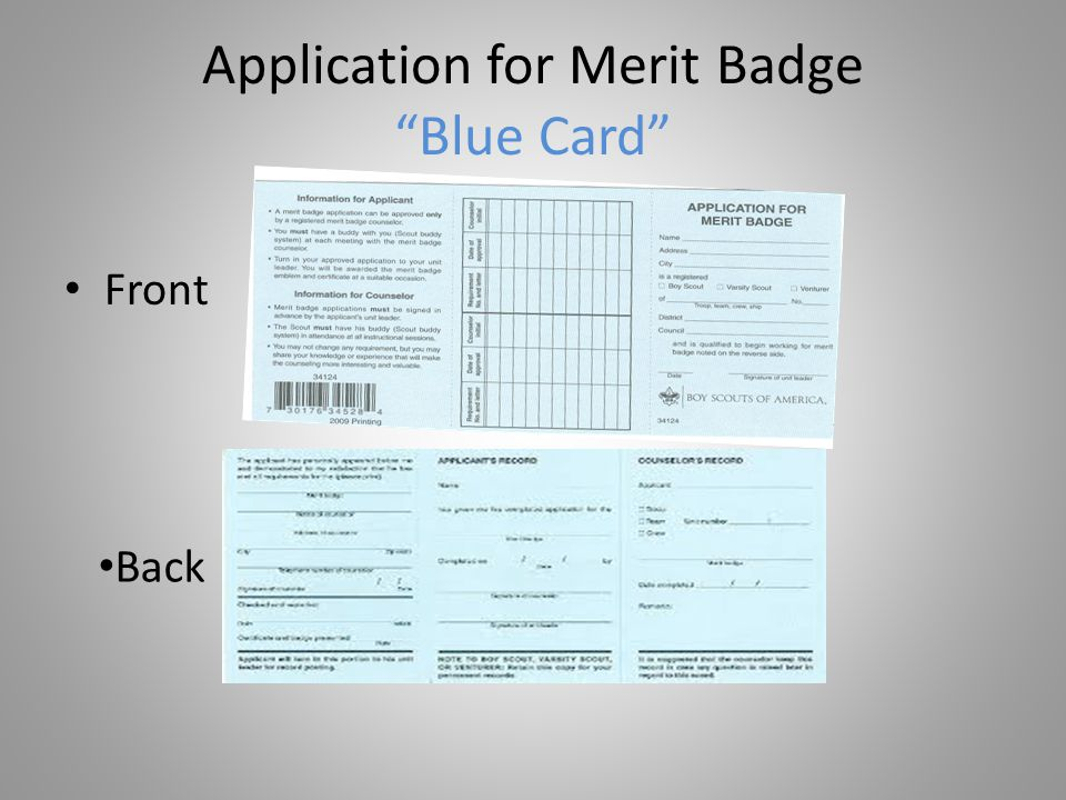 Application for Merit Badge Blue Card