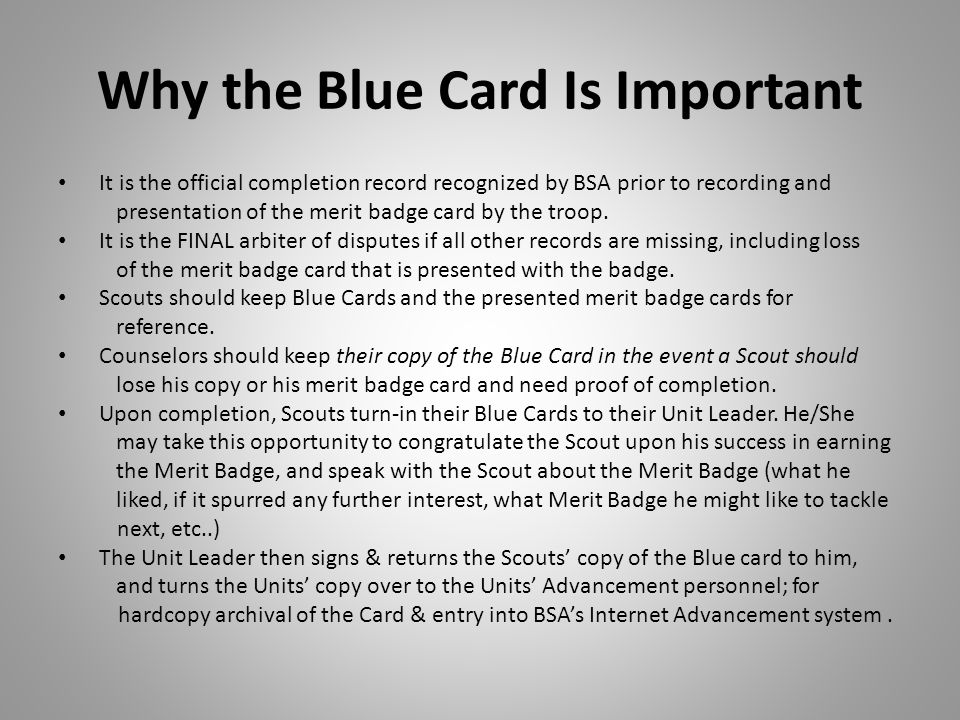 Why the Blue Card Is Important