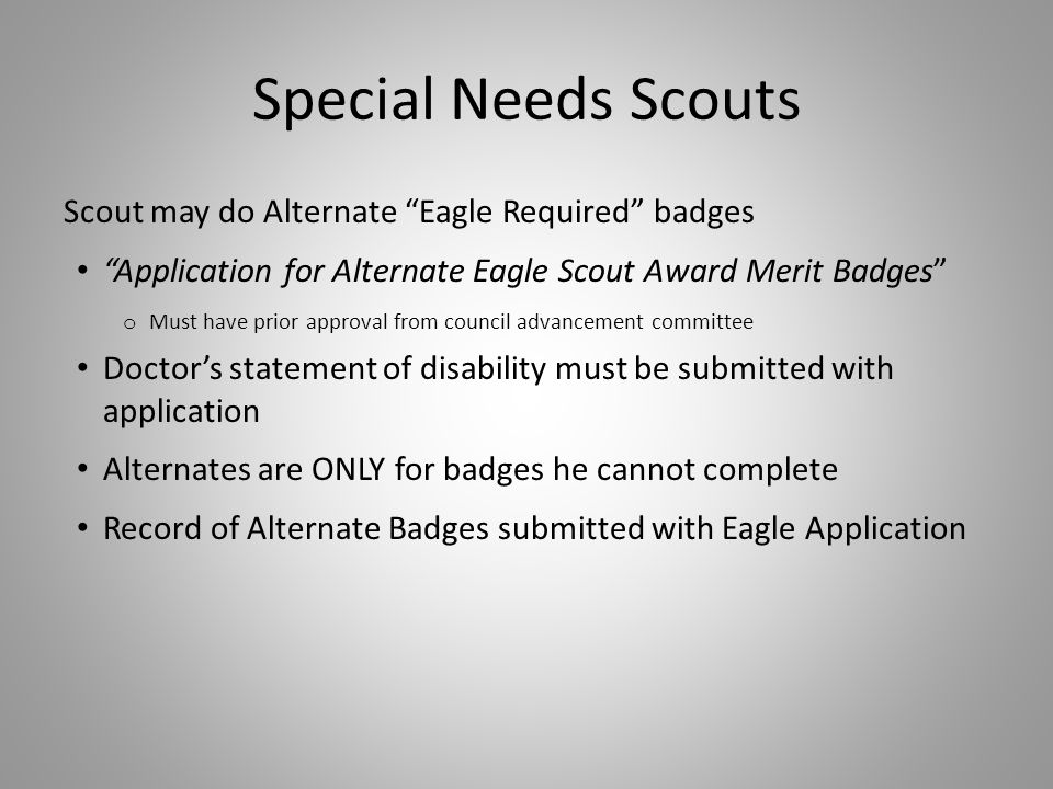 Special Needs Scouts Scout may do Alternate Eagle Required badges