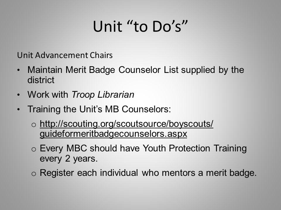 Unit to Do's Unit Advancement Chairs