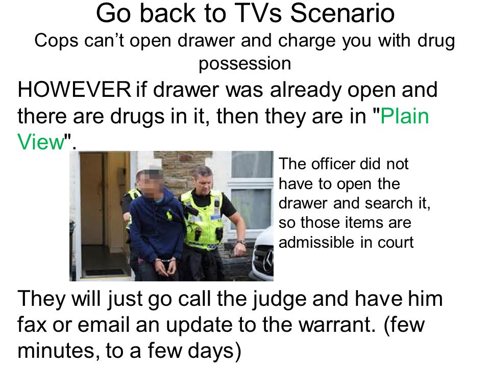 Go back to TVs Scenario Cops can't open drawer and charge you with drug possession
