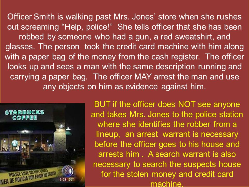 Officer Smith is walking past Mrs