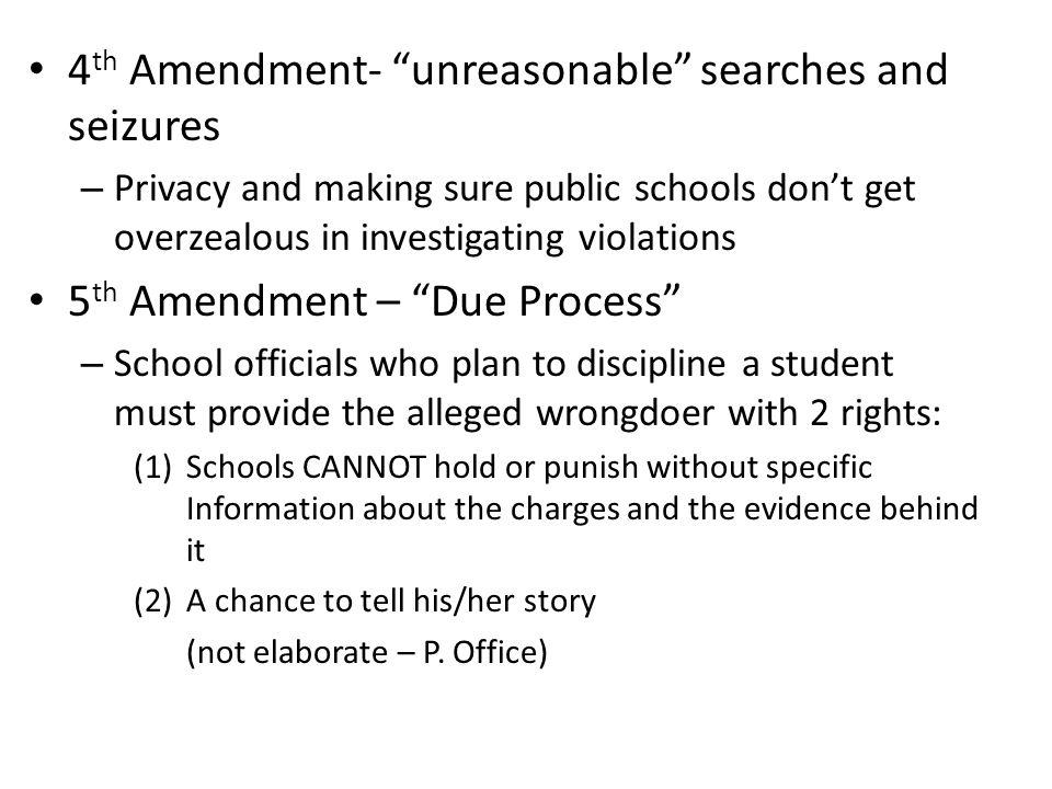 4th Amendment- unreasonable searches and seizures
