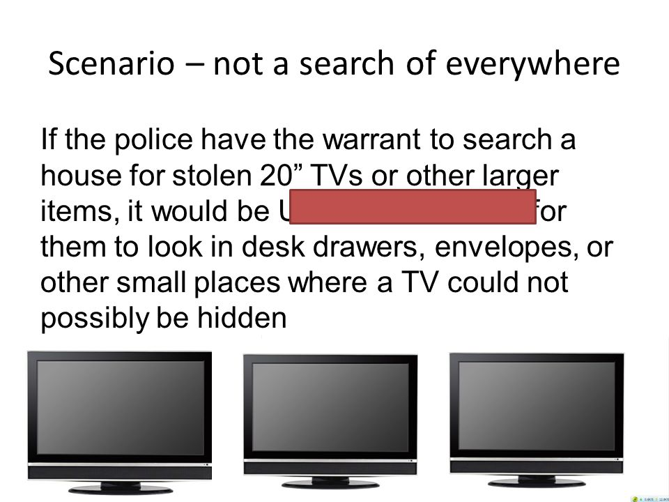 Scenario – not a search of everywhere