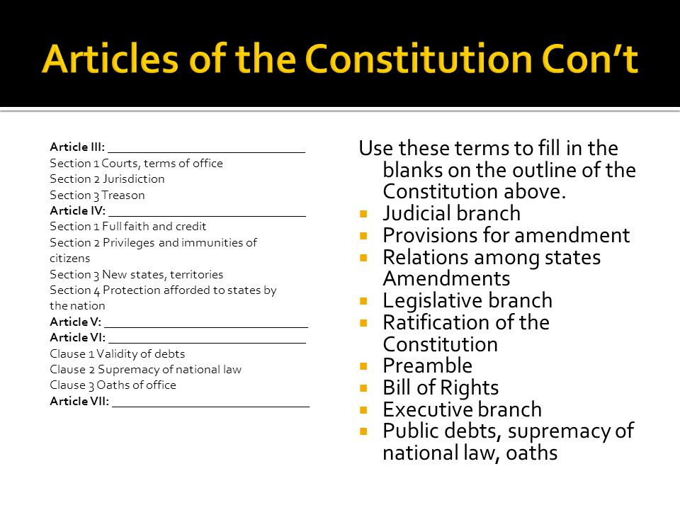 Articles of the Constitution Con't
