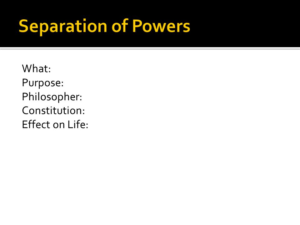 Separation of Powers What: Purpose: Philosopher: Constitution: