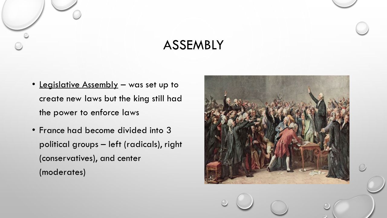 assembly Legislative Assembly – was set up to create new laws but the king still had the power to enforce laws.