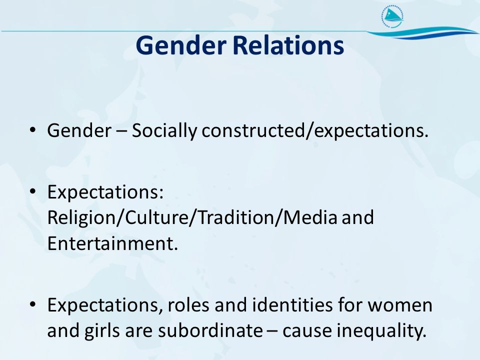 Gender Relations Gender – Socially constructed/expectations.