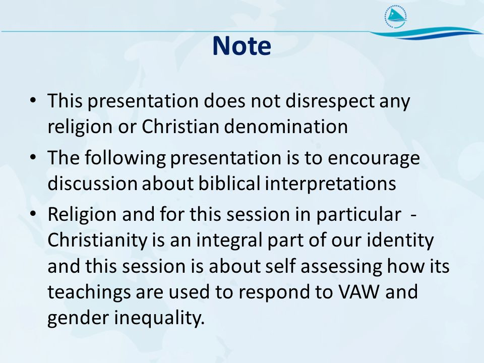 Note This presentation does not disrespect any religion or Christian denomination.