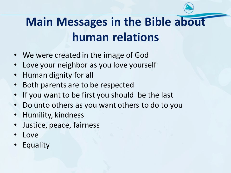 Main Messages in the Bible about human relations