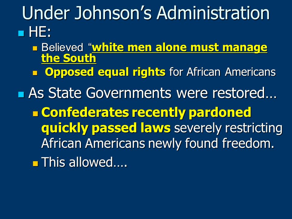 Under Johnson's Administration