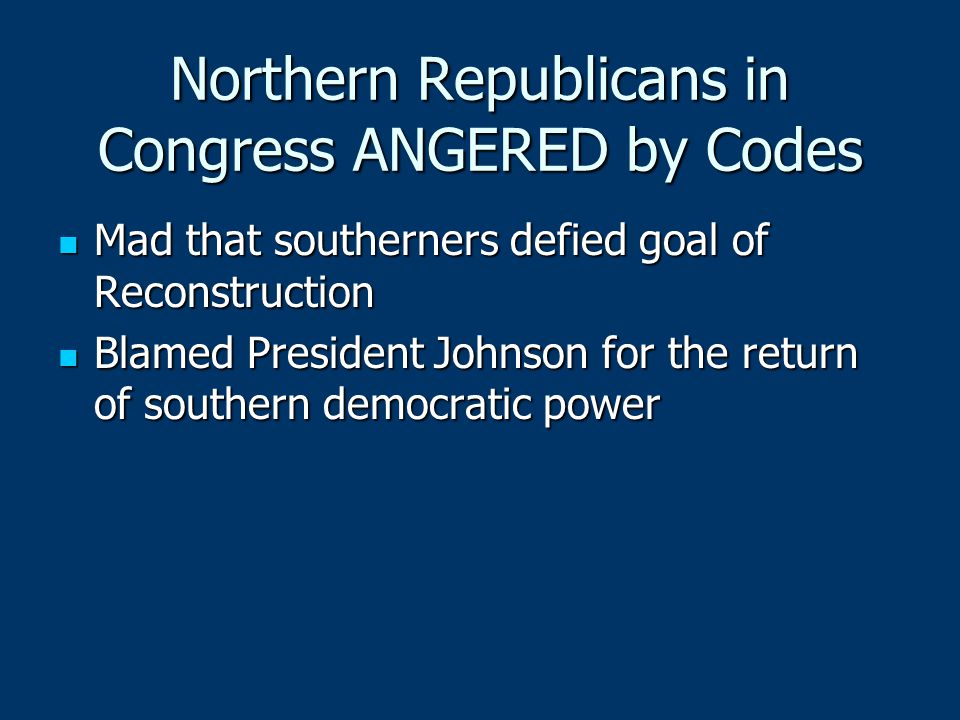Northern Republicans in Congress ANGERED by Codes