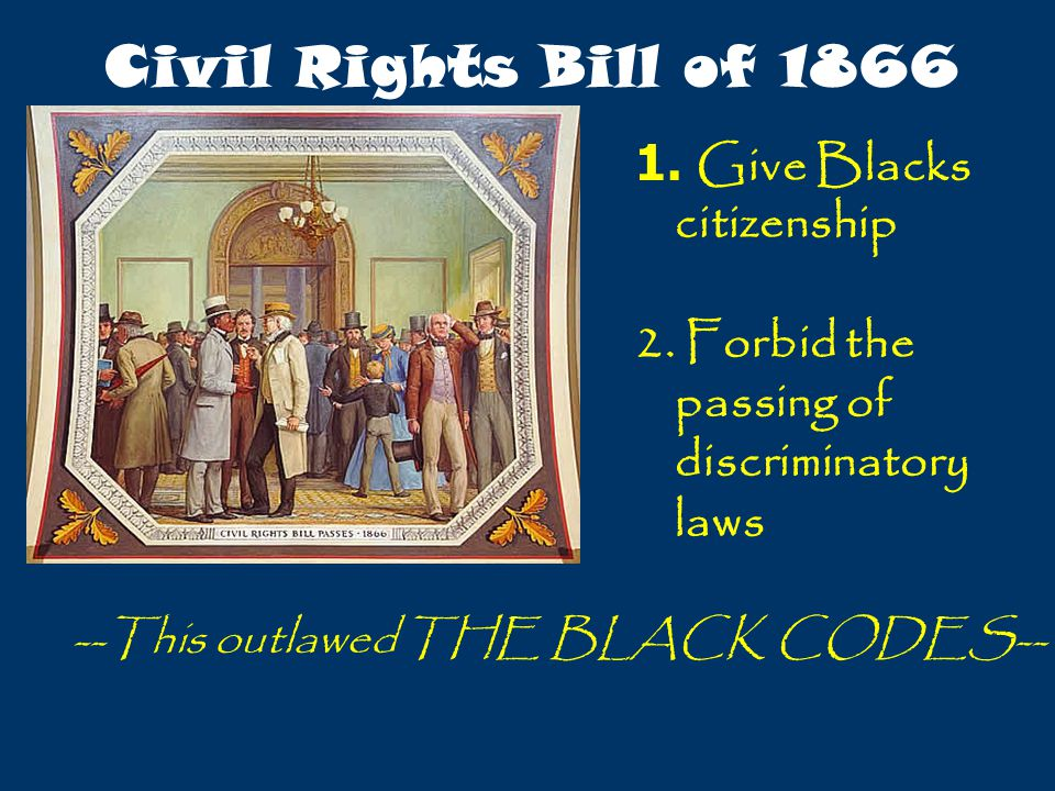 Civil Rights Bill of 1866 Give Blacks citizenship