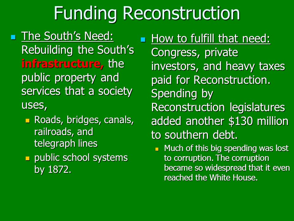 Funding Reconstruction