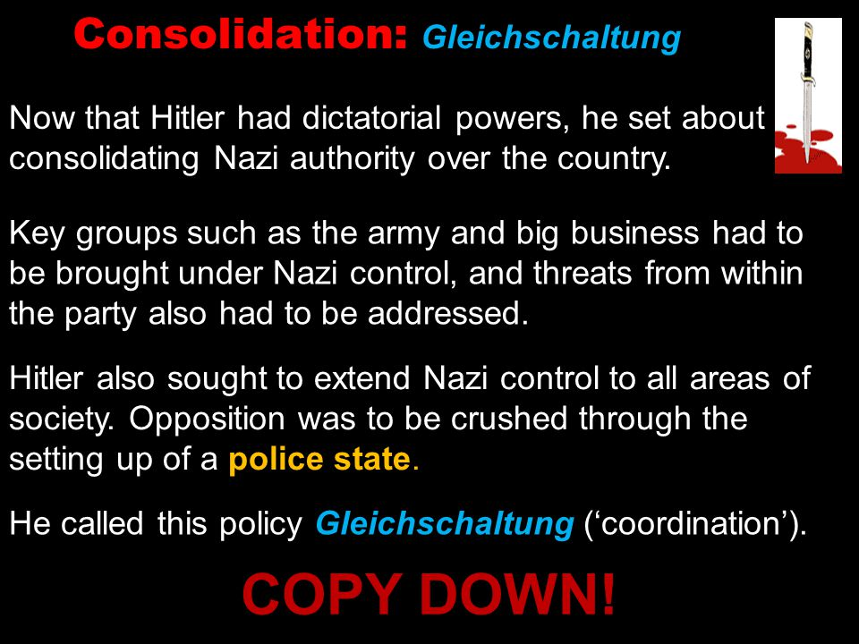 Consolidation: Gleichschaltung