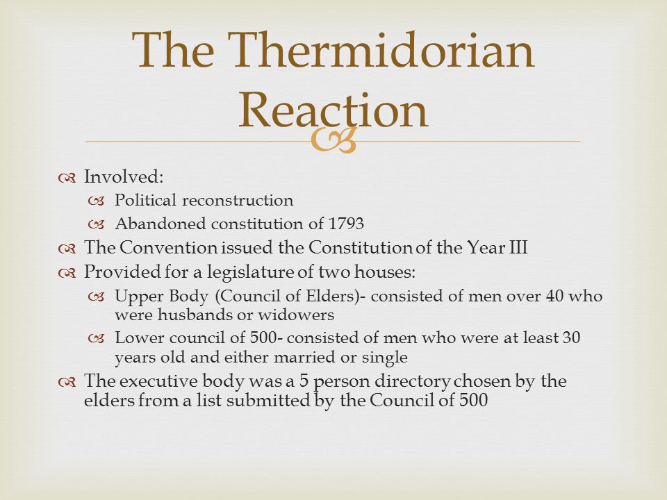 The Thermidorian Reaction