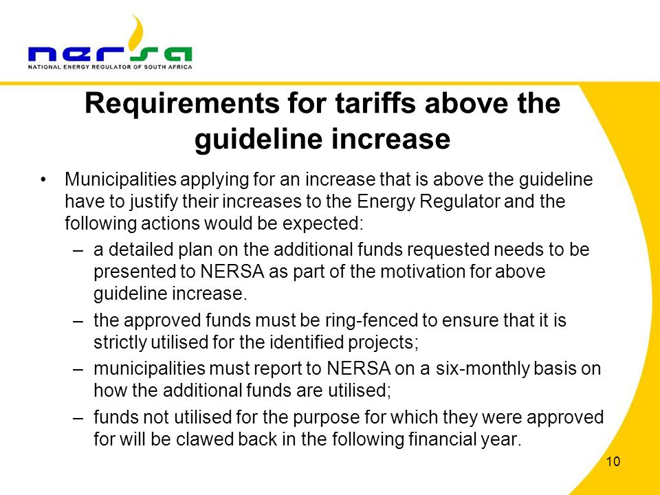 Requirements for tariffs above the guideline increase