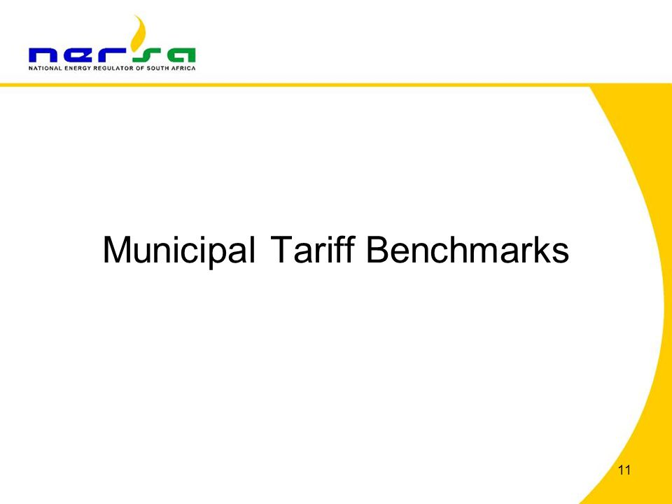 Municipal Tariff Benchmarks