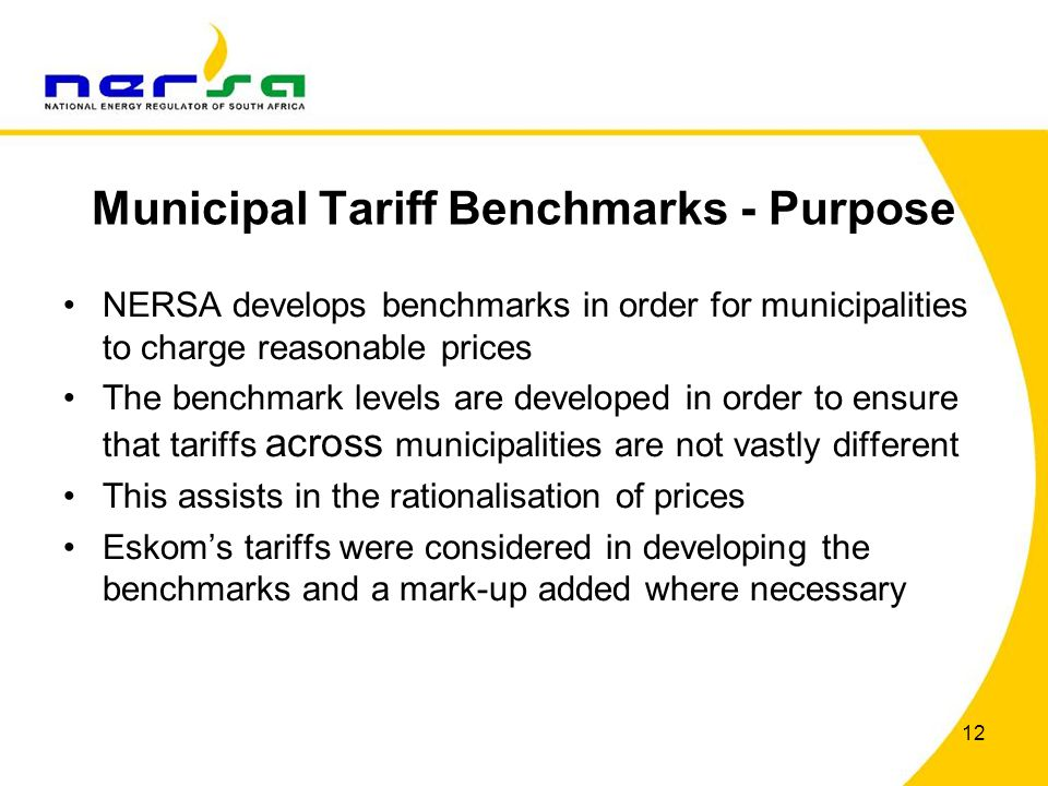 Municipal Tariff Benchmarks - Purpose