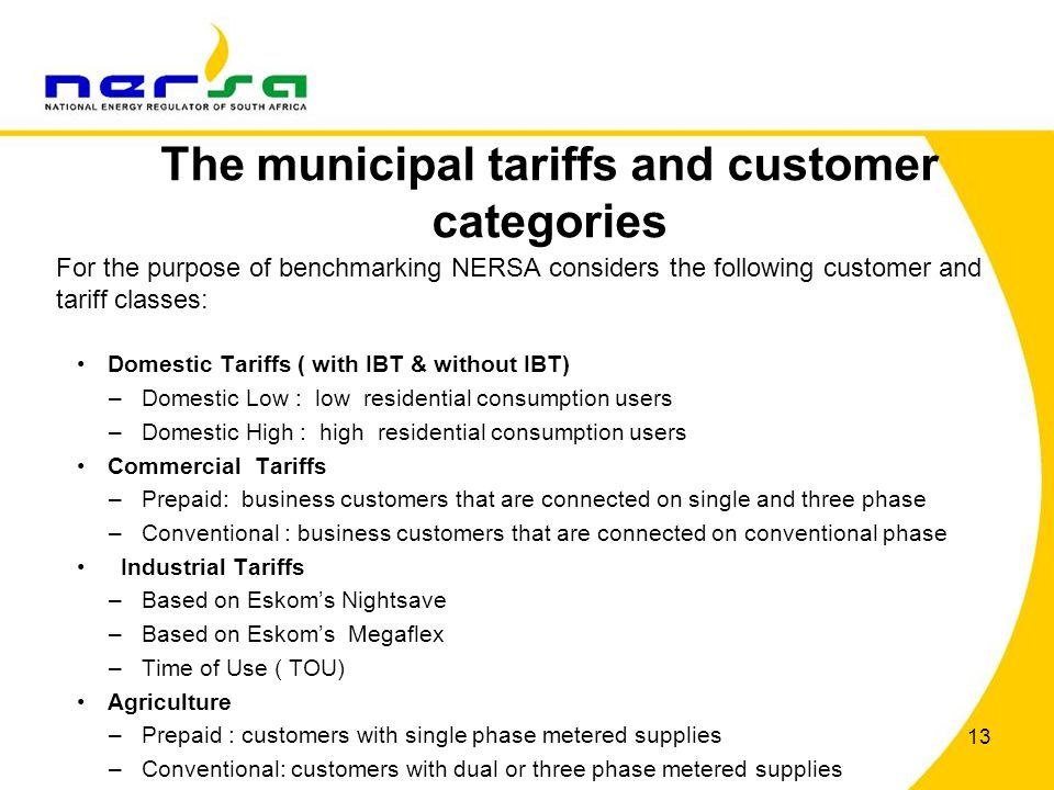The municipal tariffs and customer categories