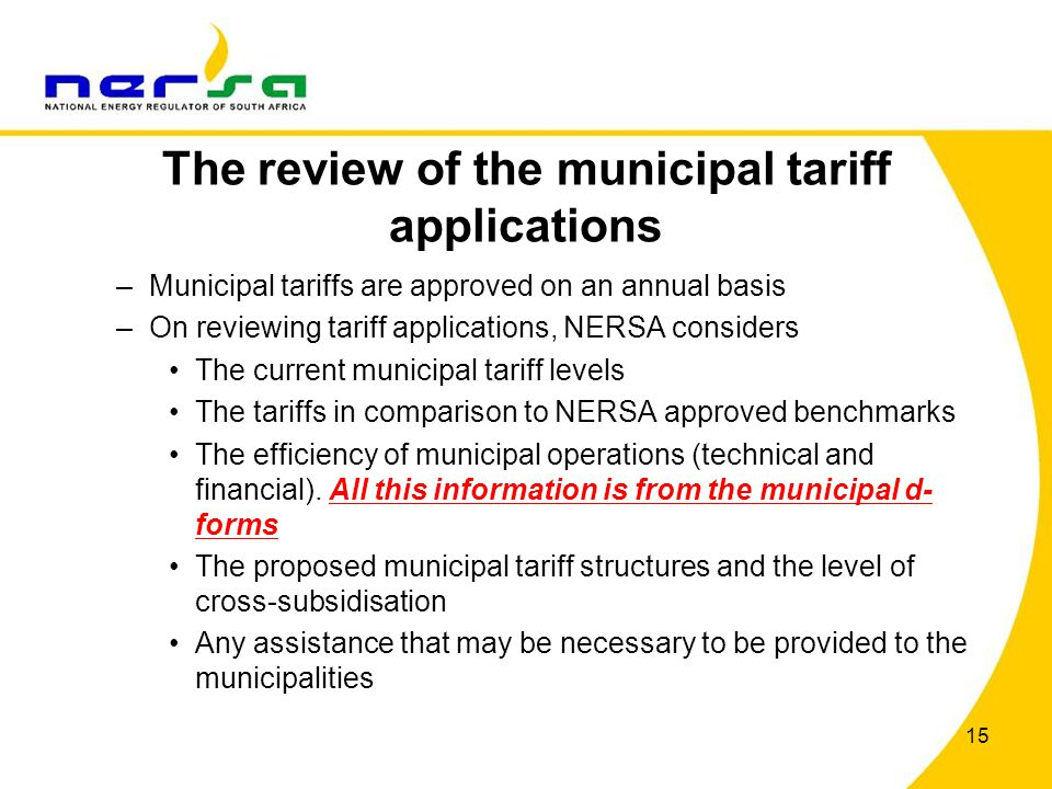 The review of the municipal tariff applications