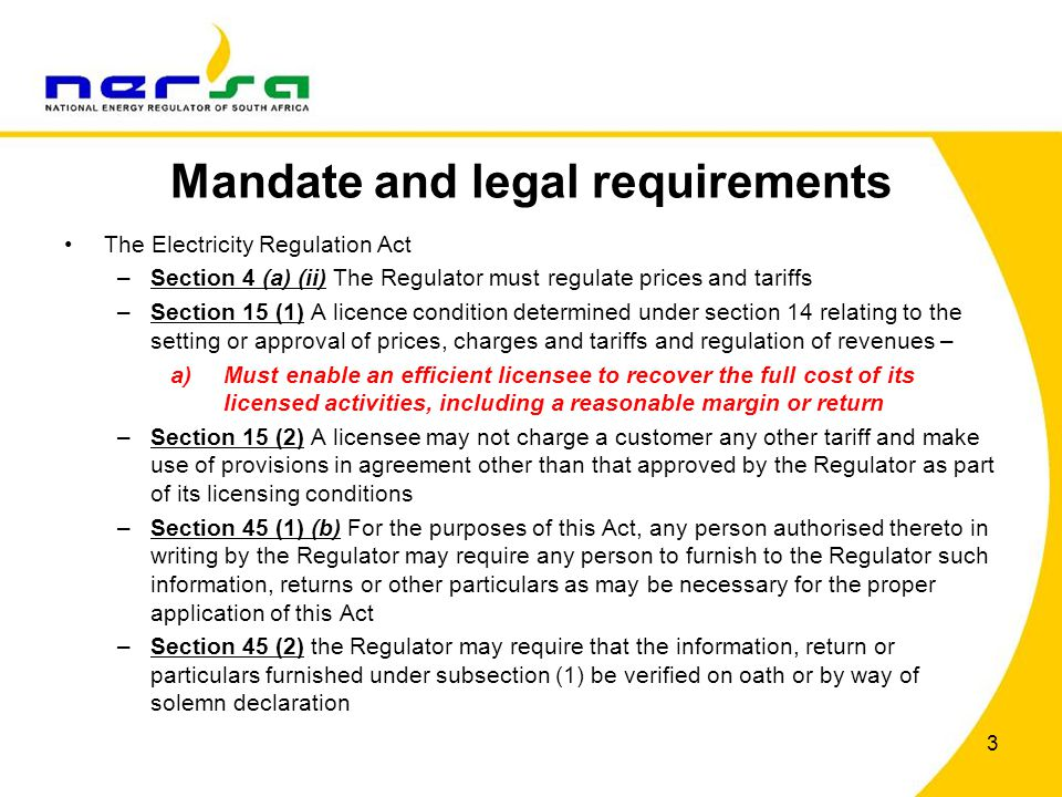 Mandate and legal requirements