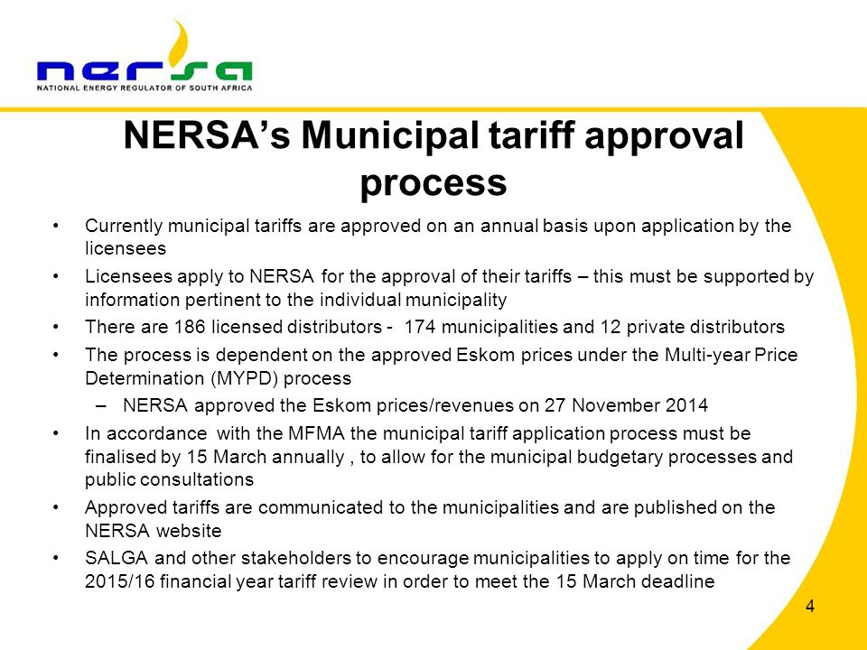 NERSA's Municipal tariff approval process