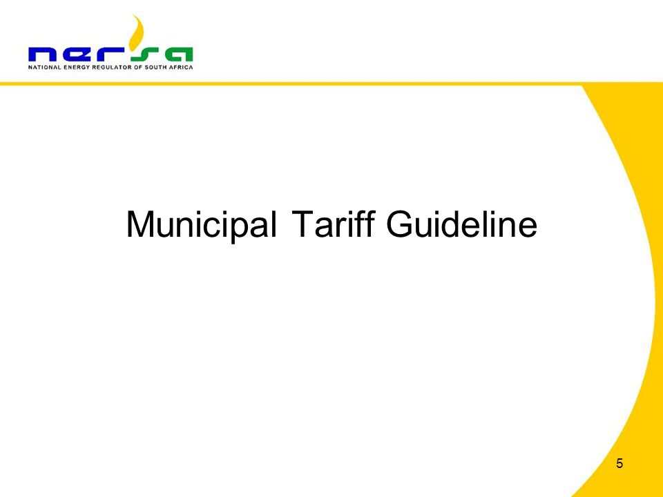 Municipal Tariff Guideline