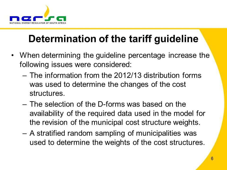 Determination of the tariff guideline