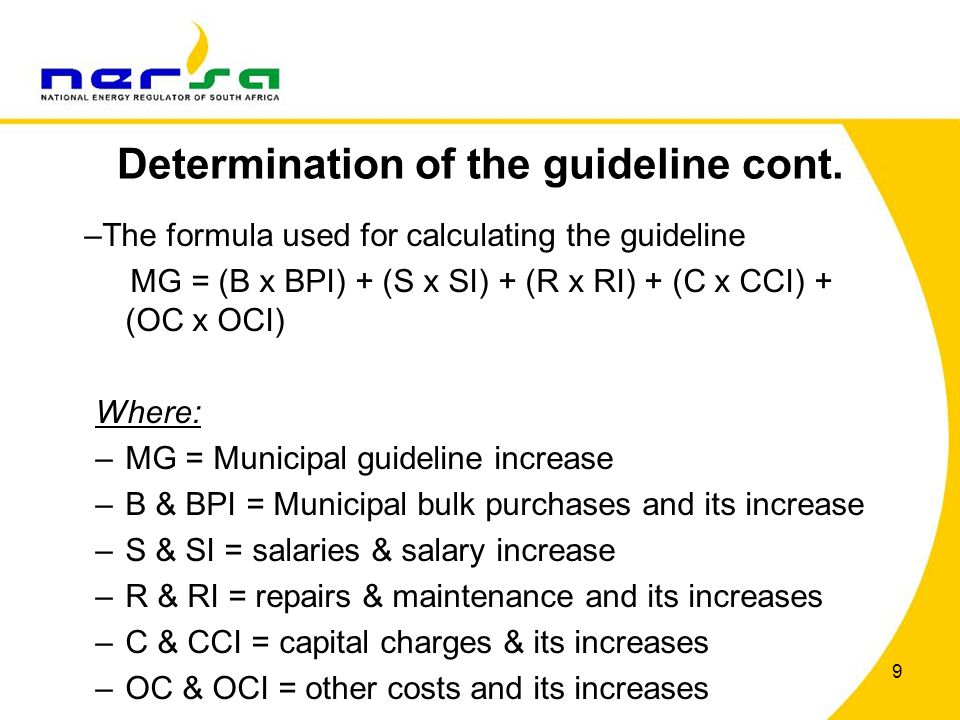 Determination of the guideline cont.