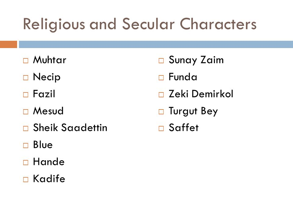 Religious and Secular Characters