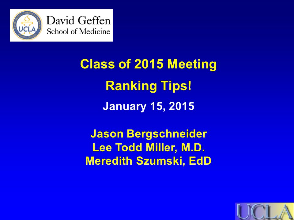 Class of 2015 Meeting Ranking Tips!