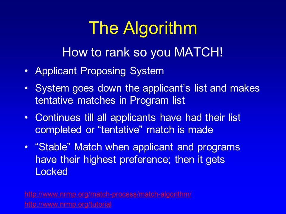 The Algorithm How to rank so you MATCH! Applicant Proposing System