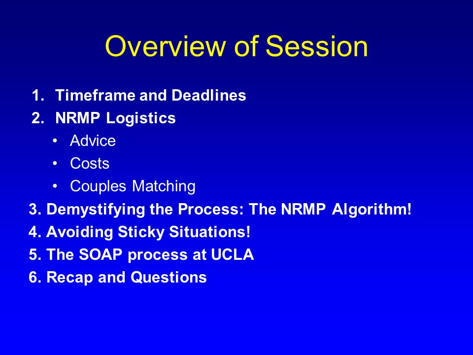 Overview of Session Timeframe and Deadlines NRMP Logistics Advice