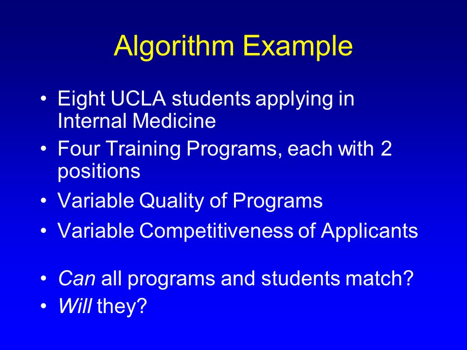 Algorithm Example Eight UCLA students applying in Internal Medicine