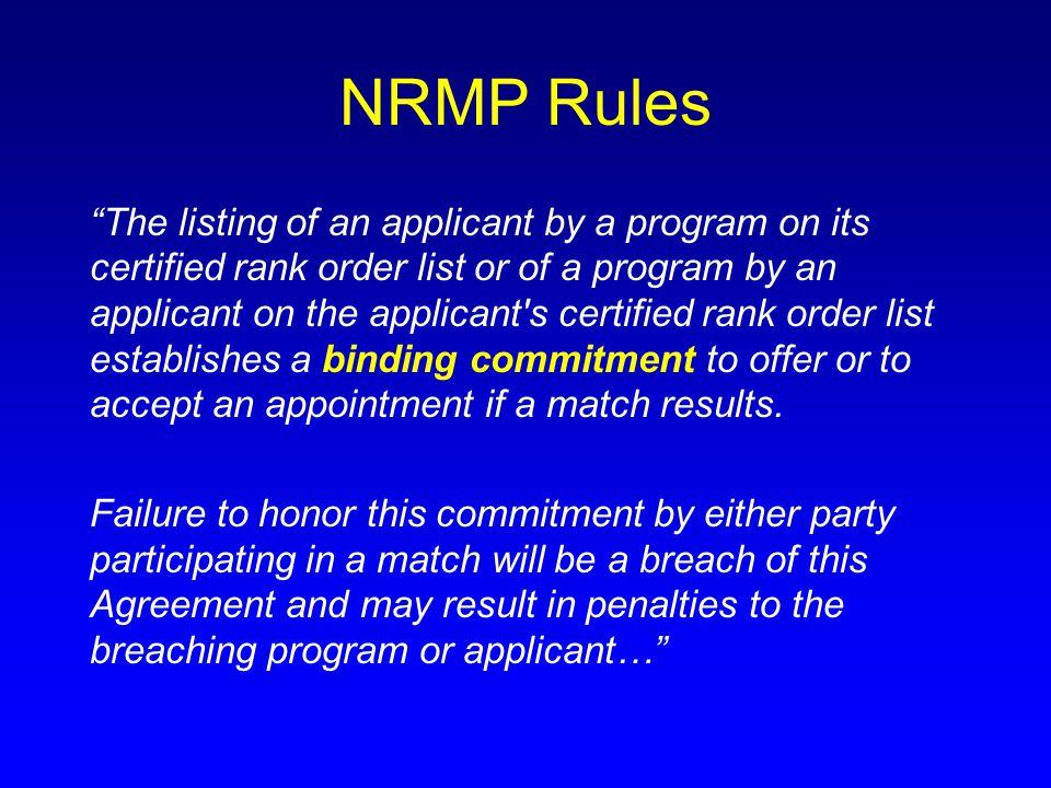 NRMP Rules