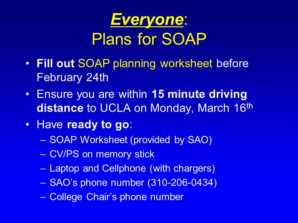 Everyone: Plans for SOAP