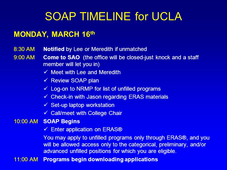 SOAP TIMELINE for UCLA MONDAY, MARCH 16th