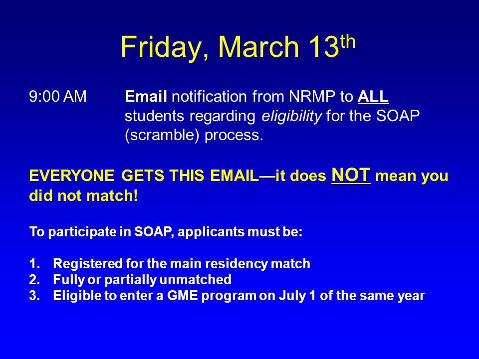 Friday, March 13th 9:00 AM Email notification from NRMP to ALL students regarding eligibility for the SOAP (scramble) process.