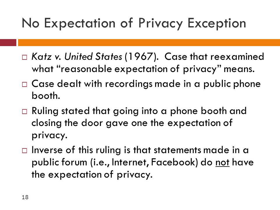 No Expectation of Privacy Exception