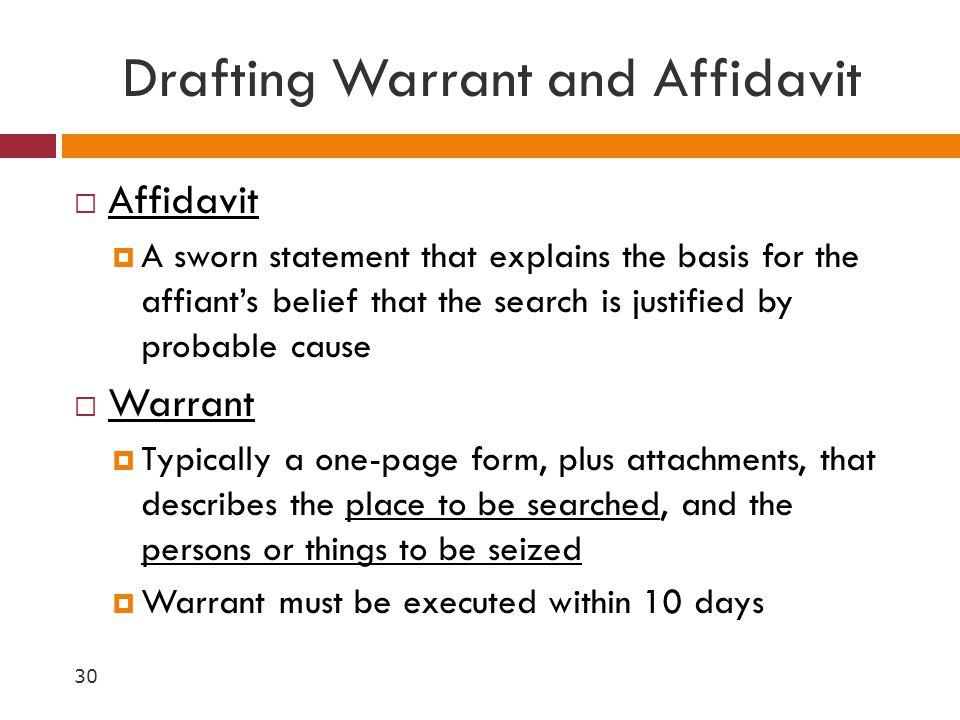 Drafting Warrant and Affidavit