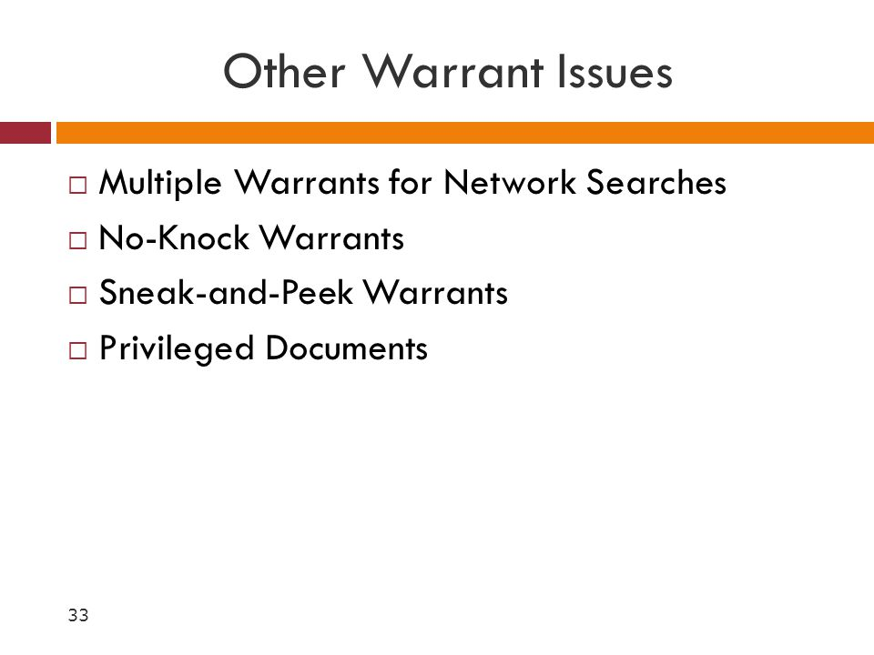 Other Warrant Issues Multiple Warrants for Network Searches