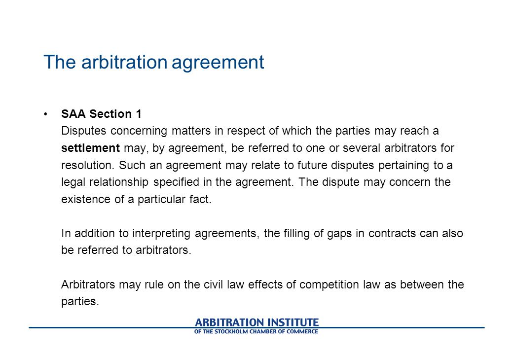 The arbitration agreement