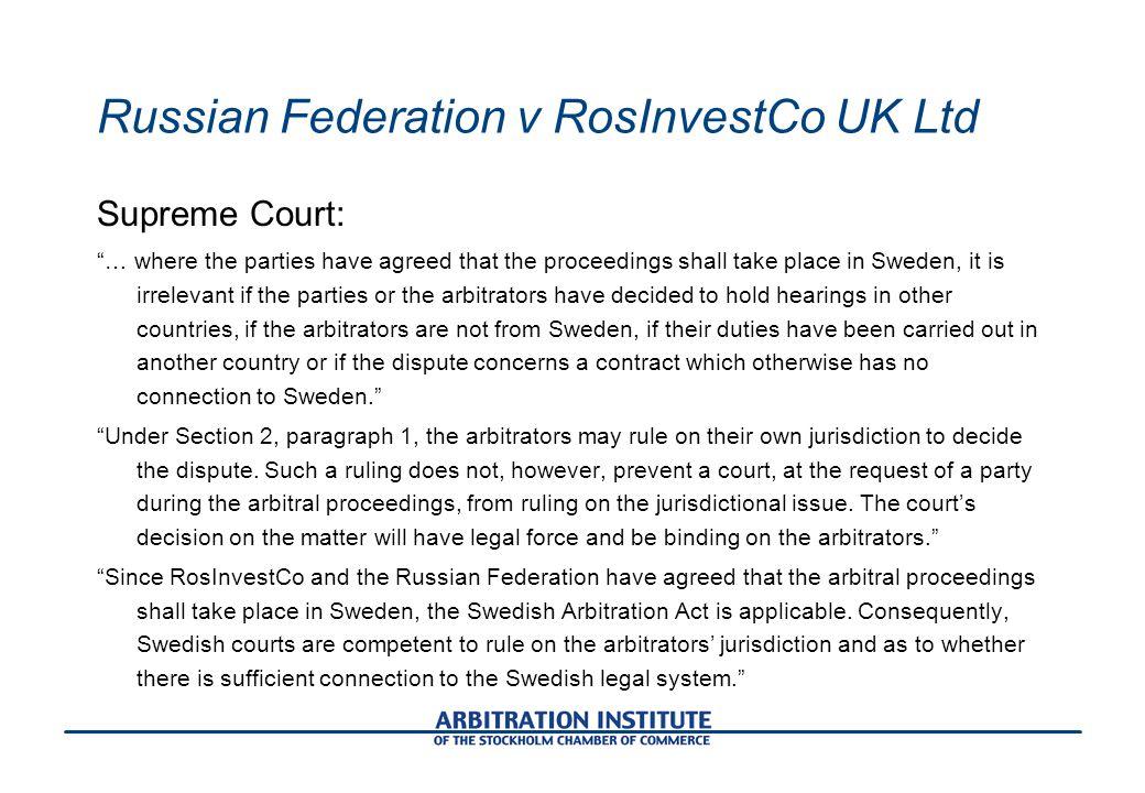 Russian Federation v RosInvestCo UK Ltd